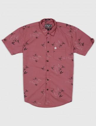 Relay printed peach hue cotton shirt