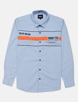 Relay sky blue printed slim collar shirt
