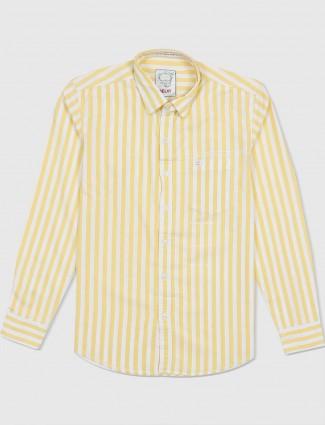 Relay yellow slim fit stripe shirt