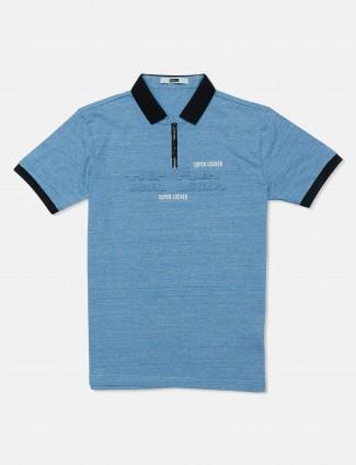 Rex Straut printed blue cotton polo t-shirt
