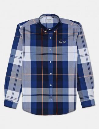 River Blue blue checks casual mens shirt