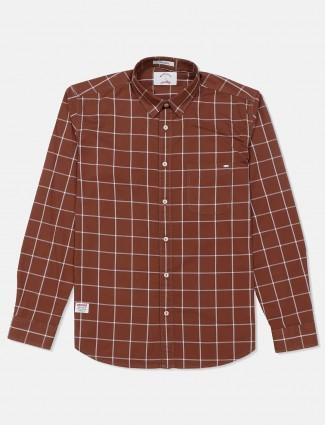 River Blue brown simple checks shirt