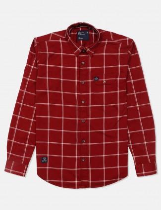 River Blue checks maroon patch pocket shirt