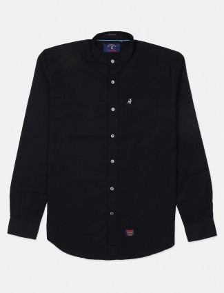 河蓝中国立领纯色黑色衬衫