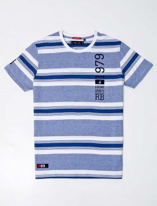 River blue cotton blue slim fit stripe t shirt