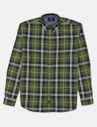 River Blue full sleeves green checks shirt