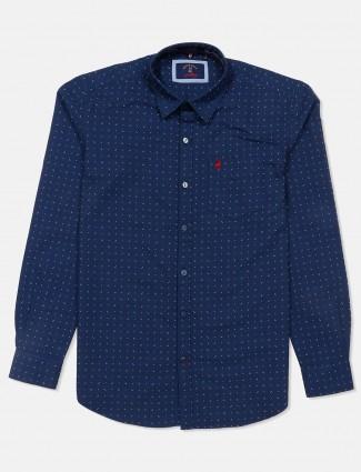 River Blue full sleeves printed navy shirt