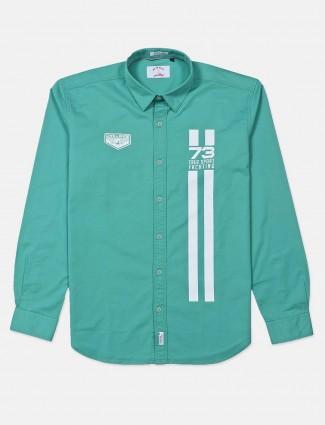 河蓝绿色印花棉质衬衫