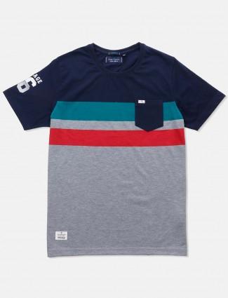 River Blue grey navy stripe t-shirt