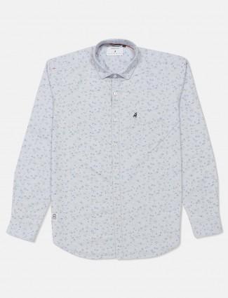 River Blue light grey printed shirt