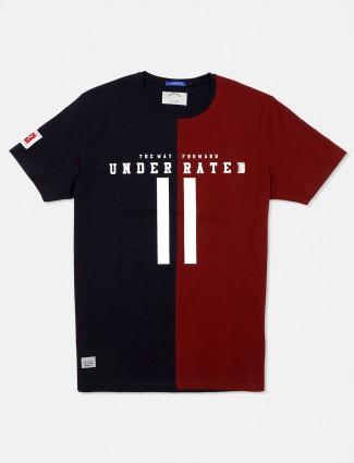 River Blue maroon and navy printed t-shirt