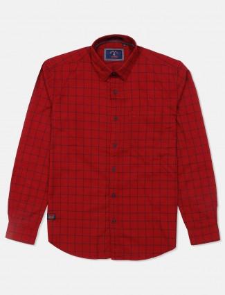River Blue maroon checks cotton shirt