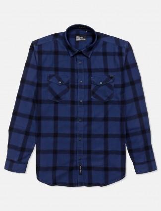 River Blue navy cotton checks full sleeves shirt