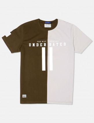 River Blue olive printed slim fit t-shirt