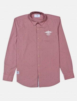 河蓝色印花粉红色粉红色男士衬衫