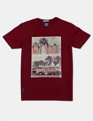 River Blue printed maroon casual t-shirt