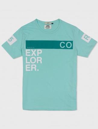 River Blue sea green printed t-shirt