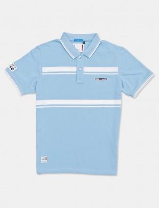 River Blue slim fit blue stripe t-shirt