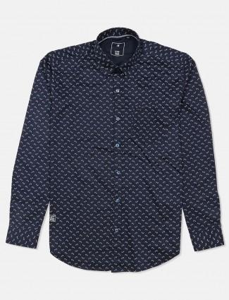 River Blue slim fit navy leaf printed shirt