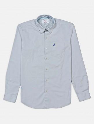 河蓝纯色休闲衬衫