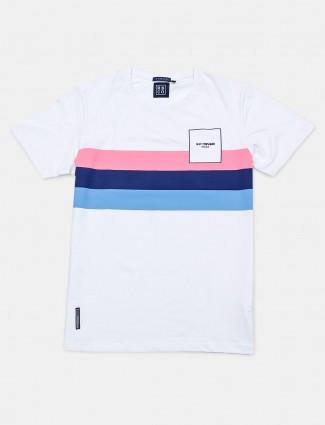 River Blue stripe white cotton mens t-shirt