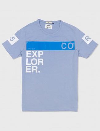 River Blue violet cotton fabric t-shirt