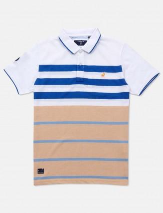 River Blue white stripe polo neck t-shirt