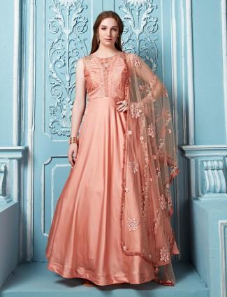 Rose pink beautiful floor length anarkali salwar suit
