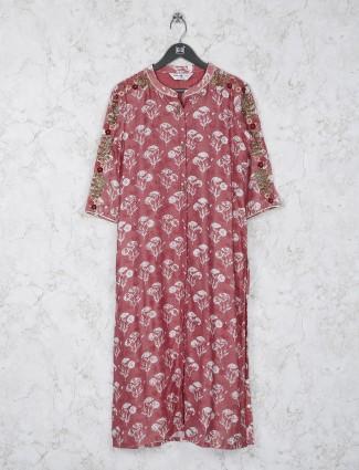 Rose pink color printed cotton fabric kurti