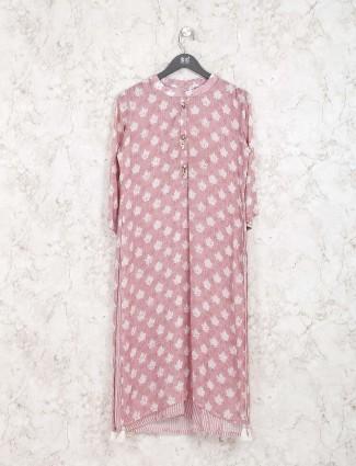Rose pink cotton fabric kurti set