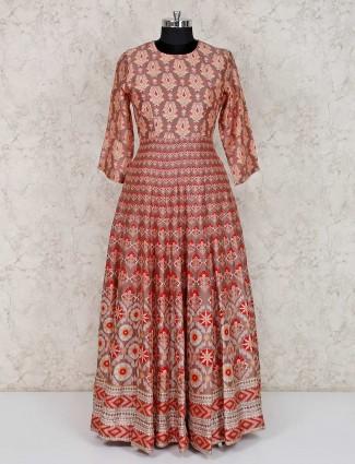 Rose pink cotton silk printed anarkali suit