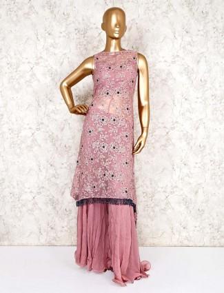 Rose pink designer palazzo suit in georgette