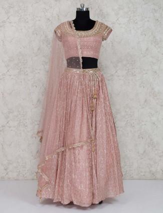 Rose pink georgette lehenga choli