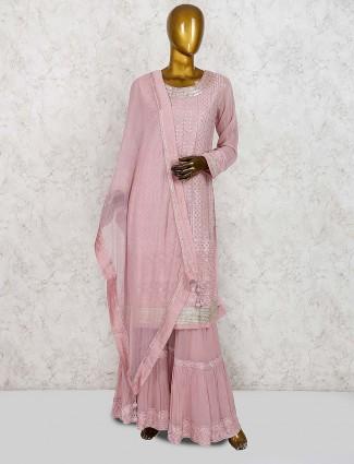 Rose pink georgette punjabi sharara suit