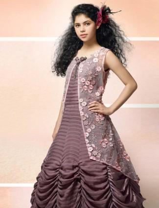 Rose pink hue designer jecket style gown