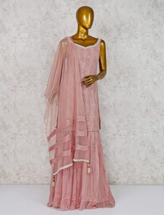 Rose pink hue georgette fabric sharara suit