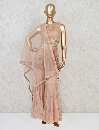 Rose pink net designer punjabi sharara suit