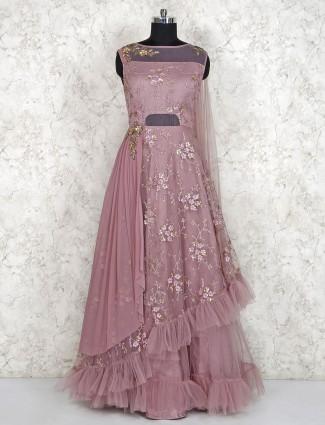 Rose pink net fabric ruffle gown