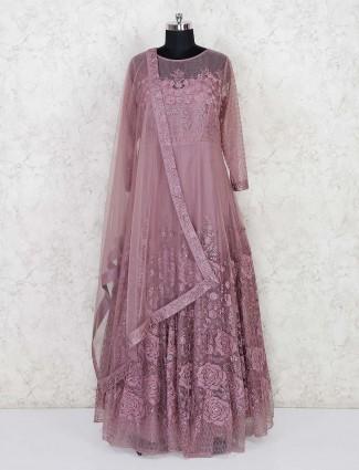Rose pink net wedding wear anarkali suit