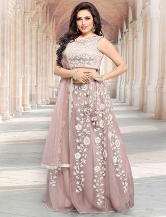 Rose pink party lehenga choli in net