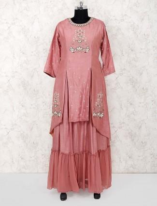 Rose pink raw silk designer salwar suit