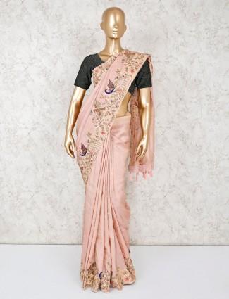 Rose pink saree in banarasi silk
