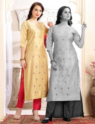 Round neck cotton silk yellow kurti