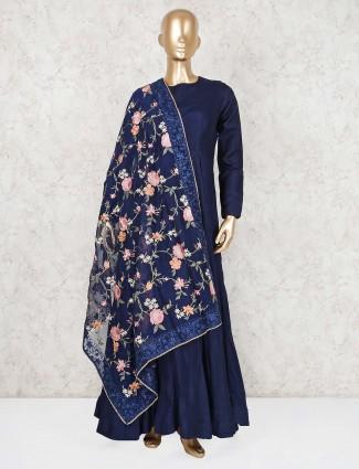 Round neck navy solid cotton silk anarkali suit