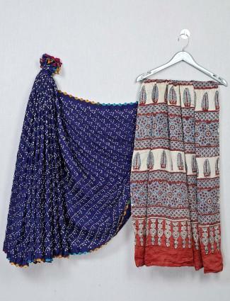Royal blue and red color bandhej fabric saree