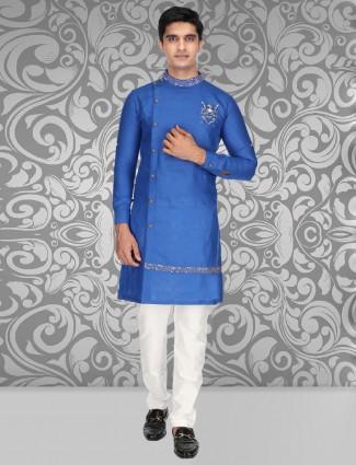 Royal blue bandhagala neck kurta suit