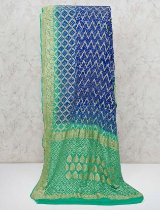 Royal blue bandhej printed saree