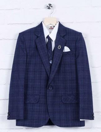 Royal blue boys tweed pattern coat suit