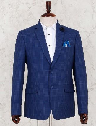 Royal blue checks two buttoned placket blazer