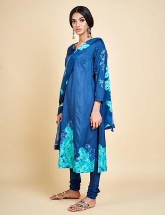Royal blue churidar salwar suit in cotton